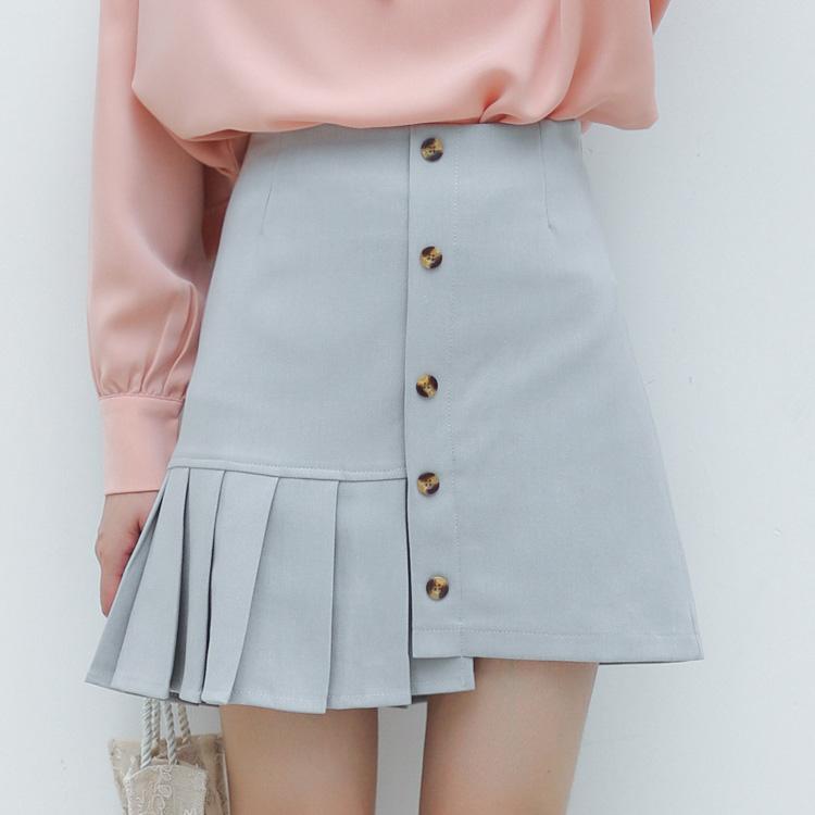 实拍2020秋季新款文艺范儿小清新不规则半身短裙子百搭修身打底裙