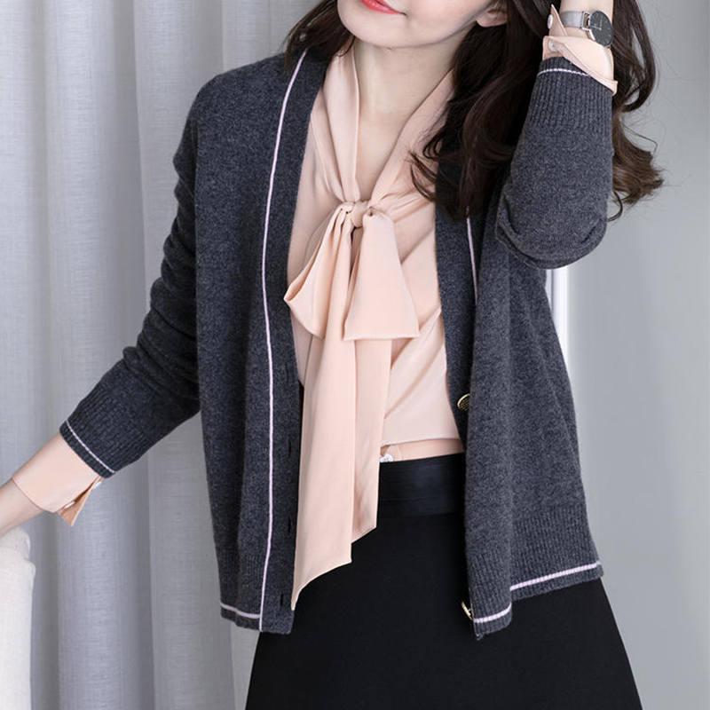 小香风薄款2020秋新款羊绒针织开衫女短款宽松韩版百搭v领外套P46