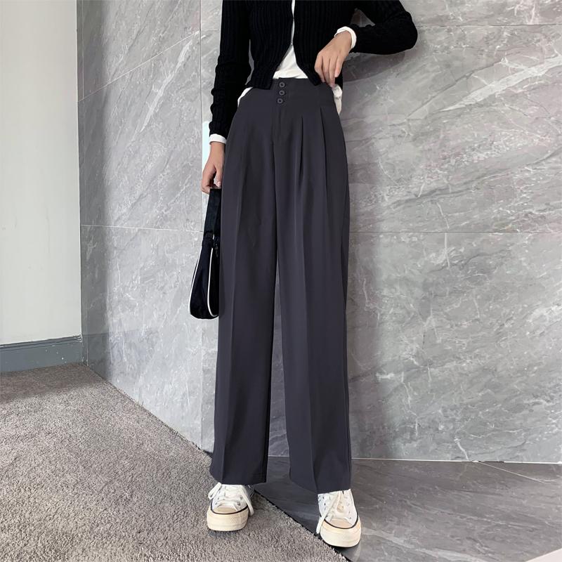 实拍2020阔腿裤女高腰宽松垂感夏季显瘦灰色薄款西装拖地休闲西裤