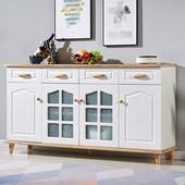 餐边柜酒柜一体现代简约置物柜子茶水柜多功能客厅厨房碗柜实木色