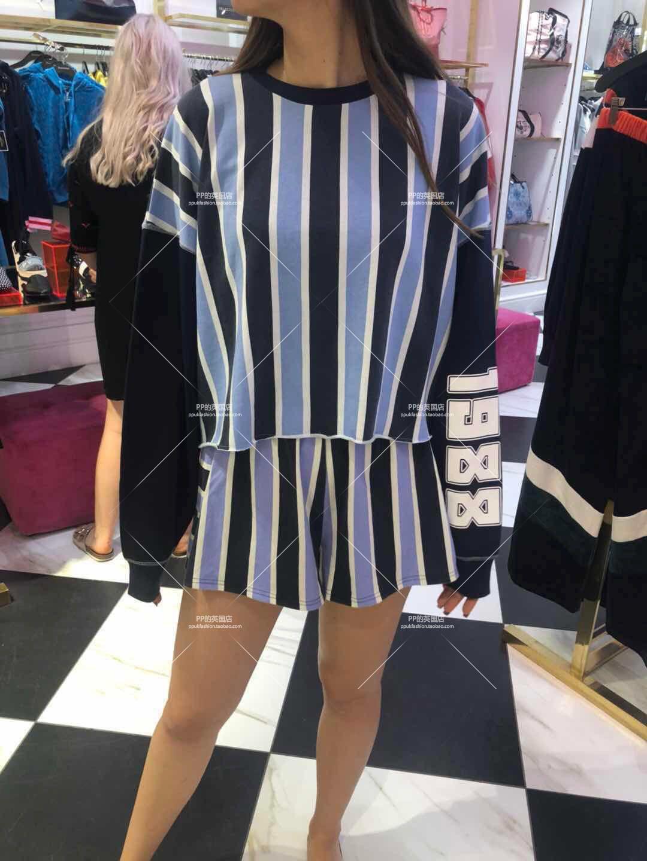 英国正品代购juicy couture女士时尚条纹长袖卫衣短裤套装折后850
