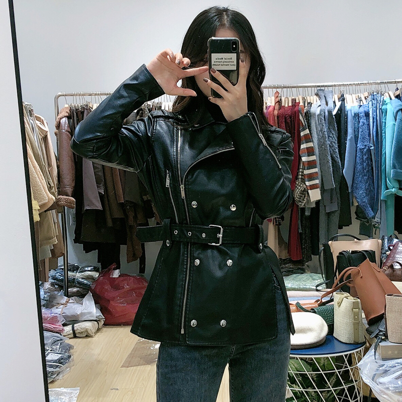 Leather coat women 2020 new medium and long small motorcycle PU leather womens top coat black leather jacket