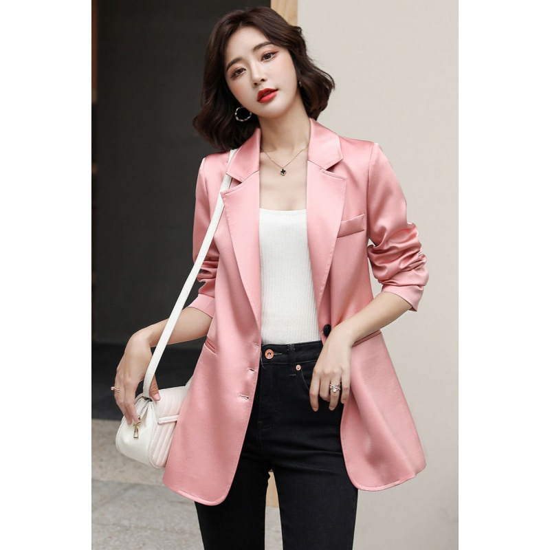 Pink suit coat women autumn 2020 new Korean style Satin professional spring and autumn small suit early autumn top