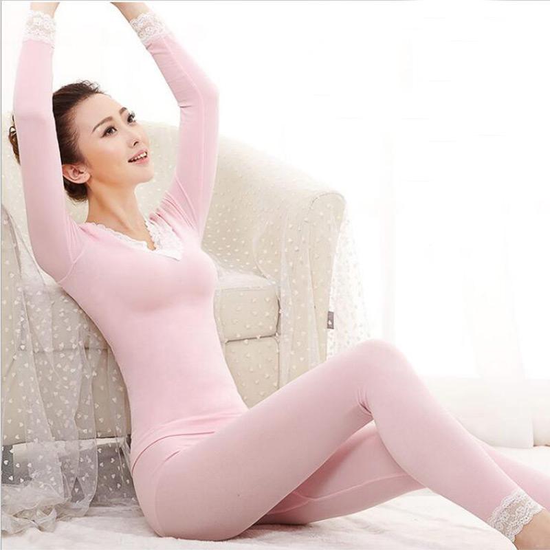 秋冬女士保暖内衣套装蕾丝V领性感塑身美体基础打底秋衣秋裤套装