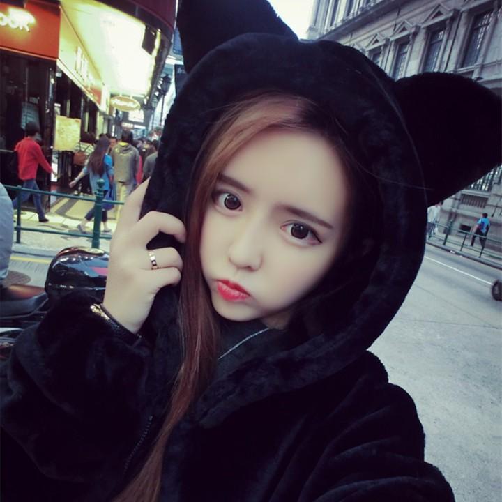 Winter 2021 slim fit Korean bear ears Plush imitation fur thickened hooded medium and long large size jacket female