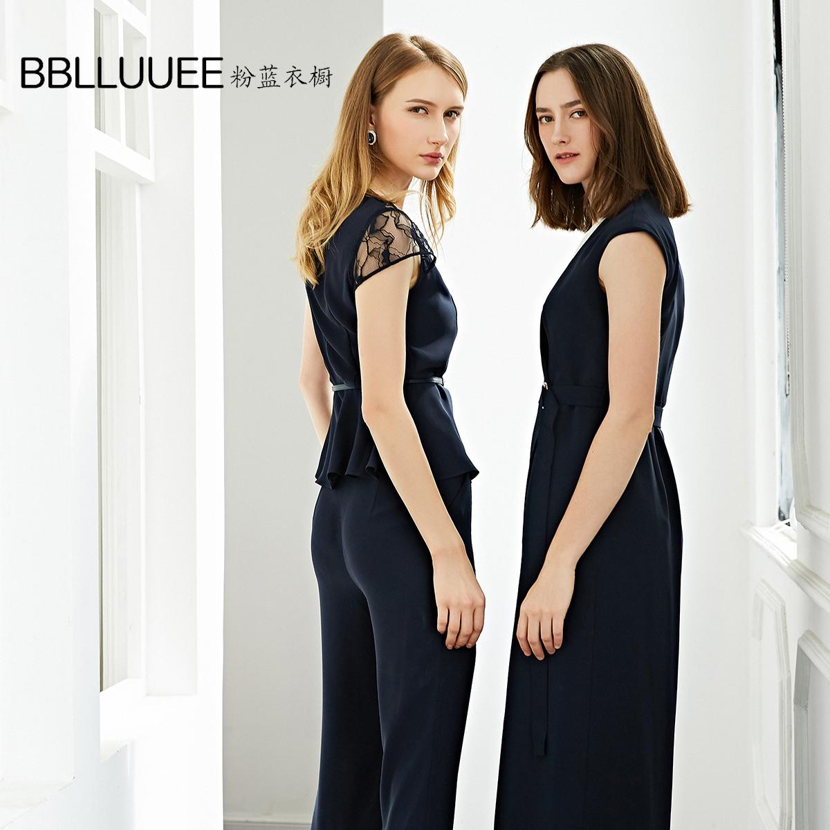 BBLLUUEE/粉蓝衣橱2019夏季新款时尚干练简约OL九分喇叭裤592K339