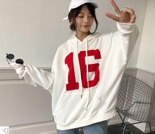 衞衣女學生外套連帽長袖ulzzang韓版潮寬鬆學生慵懶風上衣數字16