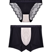 Blue Diamond Beauty Black Couple Underwear Suit Lace Sexy Ice Lady Triangle Pants Large Silk Underwear Male
