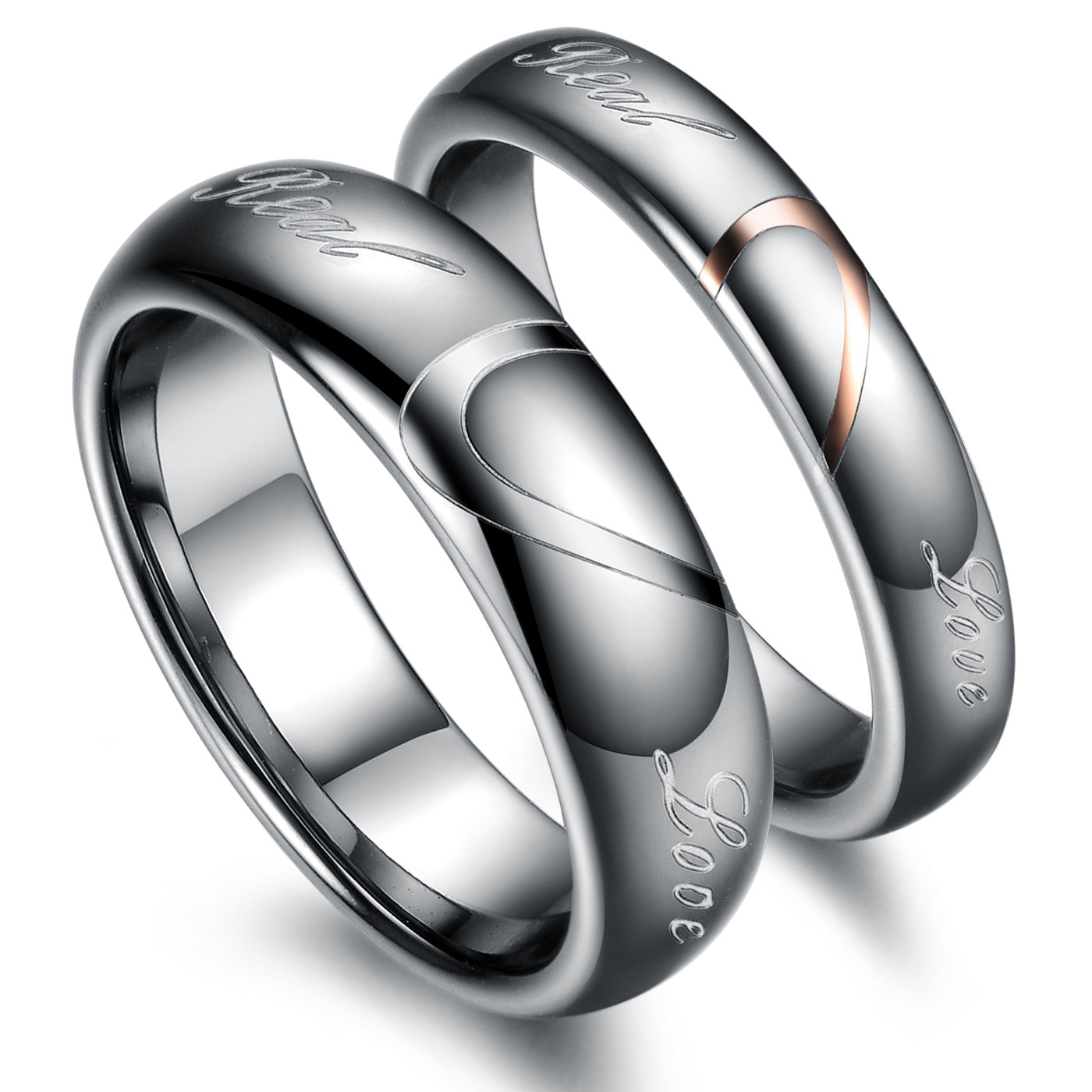 Heart shaped puzzle titanium steel lovers food ring English letter true love men and women peach heart tail ring Valentines Day gift