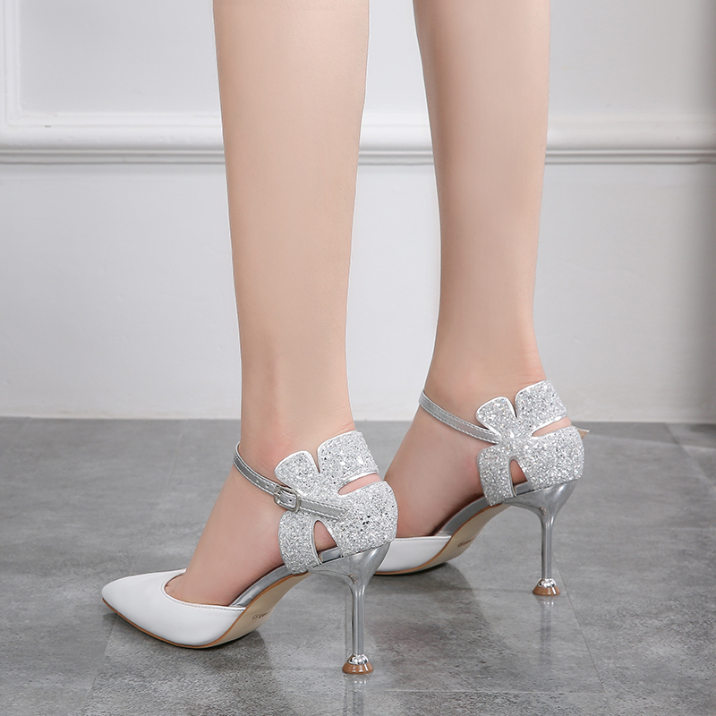 Summer 2020 new white Baotou sandals womens stiletto pointed point buckle small heels 31 32 33