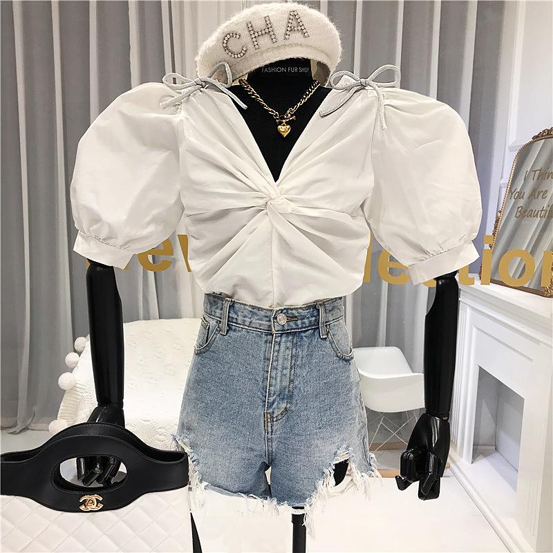 2020夏季新款蝴蝶結重工鑲鉆襯衫女超仙的洋氣泡泡袖顯瘦短款上衣