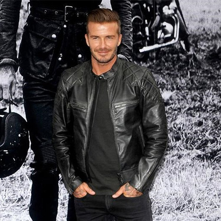 Beckhams same stand collar leather jacket, European and American slim fit short youth handsome motorcycle trendy mens PU leather jacket