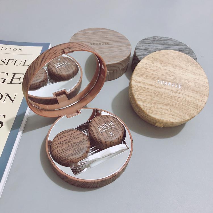 隐形眼镜盒包邮日系复古木纹质感伴侣盒轻巧个性简约便携美瞳盒子图片