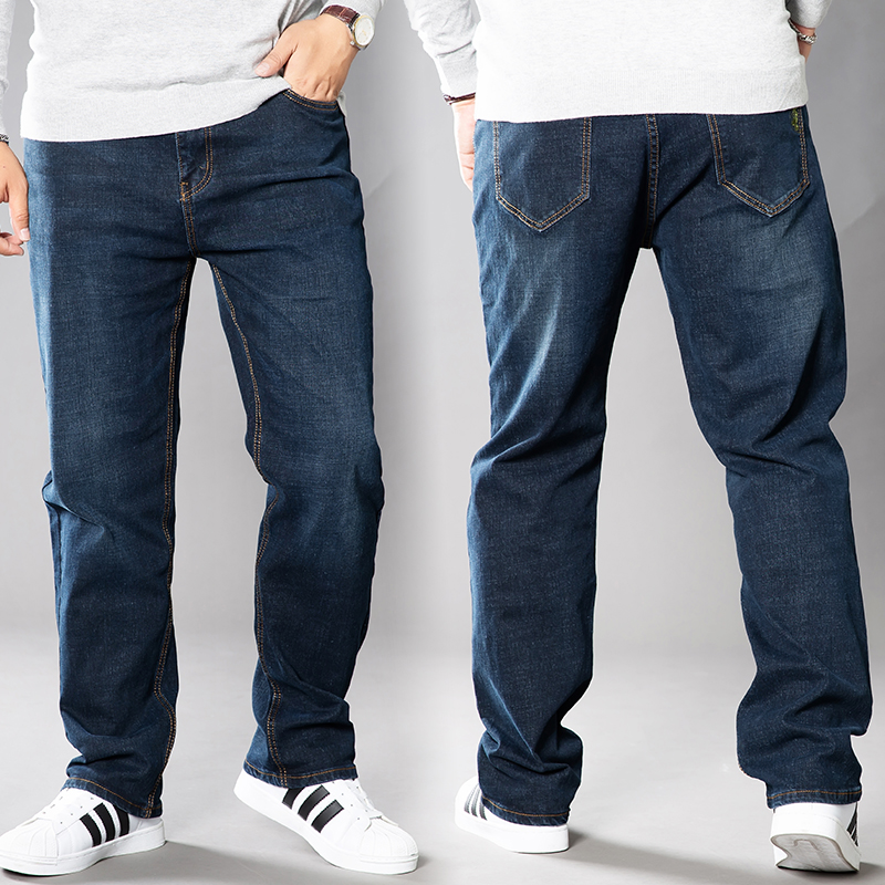Spring and summer new jeans mens slacks add fat fat stretch pants mens straight fat pants