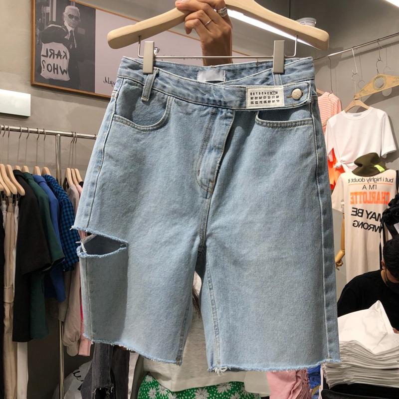 短裤女夏大码2021新款中裤高腰显瘦五分裤胖妹妹破洞直筒牛仔裤潮
