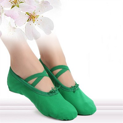 Childrens dance soft soled ballet shoes bow new dance performance training shoes green blue Yoga shoes