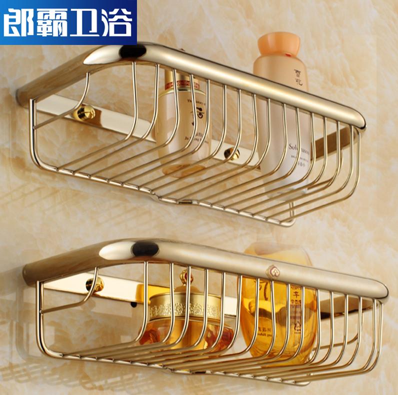 全銅歐式浴室置物架掛件 金色仿古衛生間收納架雙層網籃衛浴壁掛