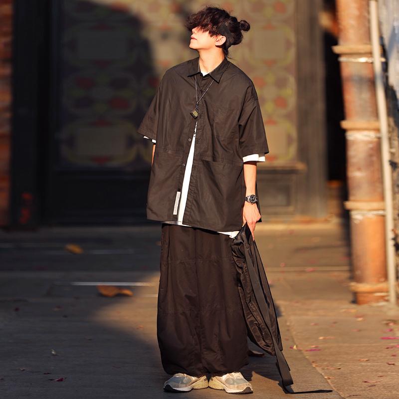 水曜日定休夏季日系原宿风纯色短袖衬衫男百搭工装宽松衬衣女ins