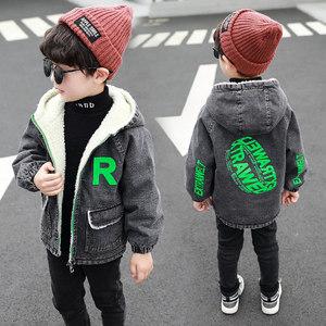 男童外套2019冬季新款韩版儿童加绒印花牛仔衣中小童加厚帅气潮衣