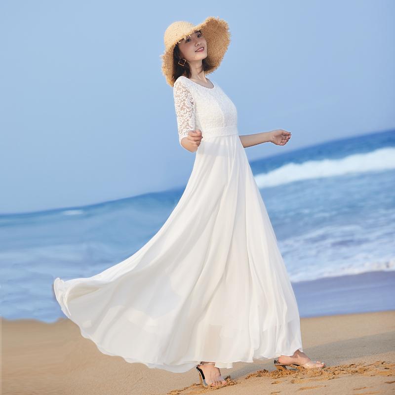 2020新款女气质长裙大摆长款连衣裙夏修身白色裙子蕾丝拼接沙滩裙图片