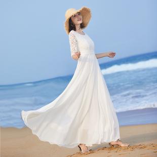 女气质长裙大摆长款 2021新款 连衣裙夏修身 白色裙子蕾丝拼接沙滩裙