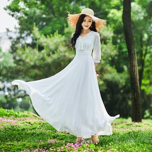 连衣裙仙女风2021新款夏气质拖地裙子大摆裙沙滩裙白色雪纺超长裙