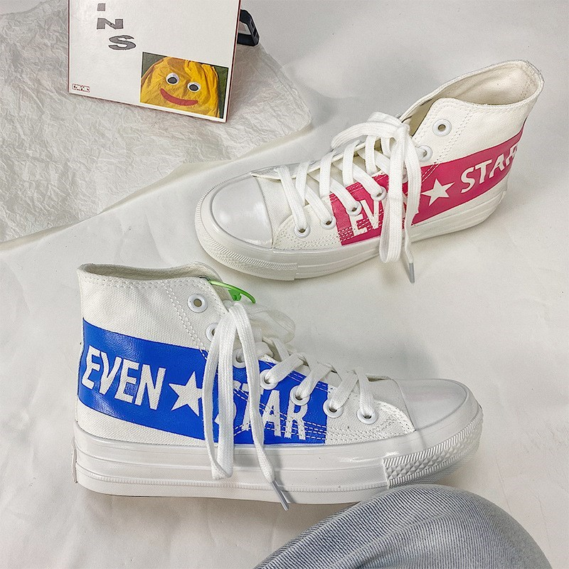 Letter style high top canvas shoes mens and womens shoes printed mandarin duck shoes 2020 NEW