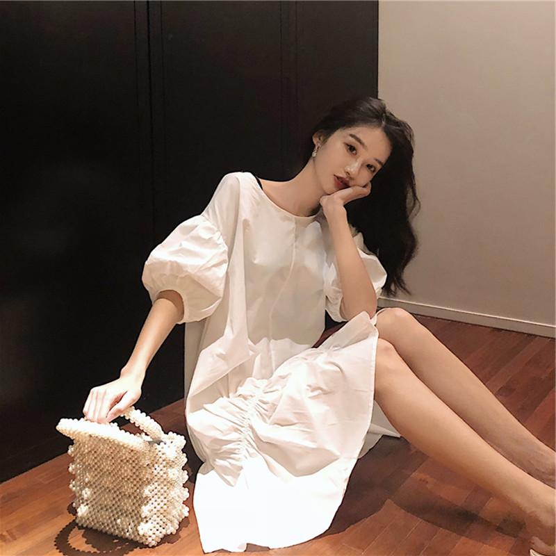 2021夏季新款中长款超仙桔梗裙显瘦气质宽松很仙的法国小众连衣裙