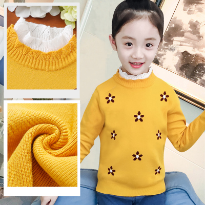 女童毛衣2019秋冬新款洋气加绒加厚儿童装针织打底衫套头女孩线衣