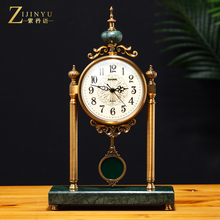 European light luxury metal seat clock, quiet living room, desk clock, table clock, ornament, household large American decorative seat clock