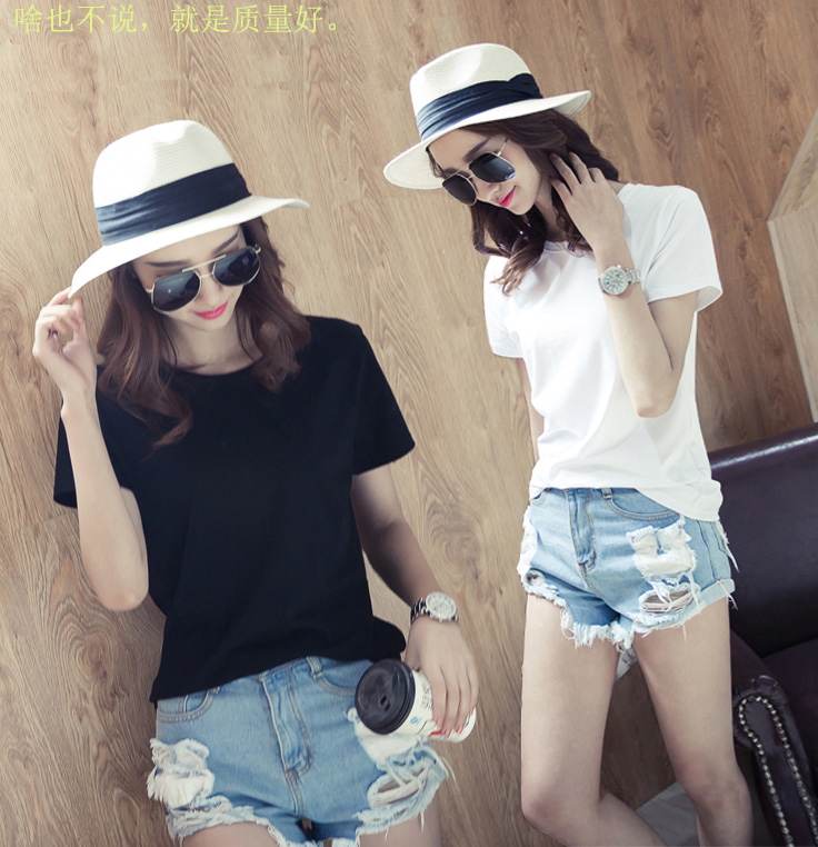 Loose black short sleeve womens T-shirt 2020 simple Korean odel cotton solid half sleeve T-shirt bottoming shirt womens wear