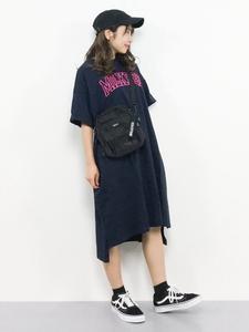 牛奶家极简主义2019夏季新款纯棉T恤连衣裙女印花字母a型中长款