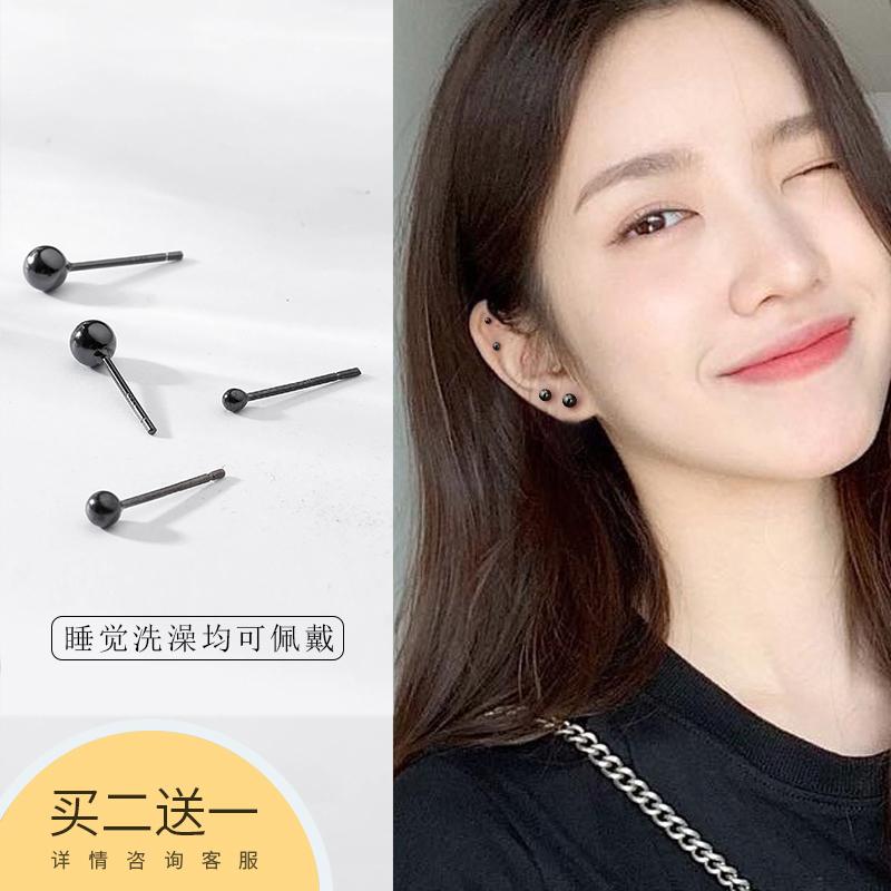 s925纯银黑色光珠耳钉耳棒女韩国简约个性气质百搭小耳环耳饰品