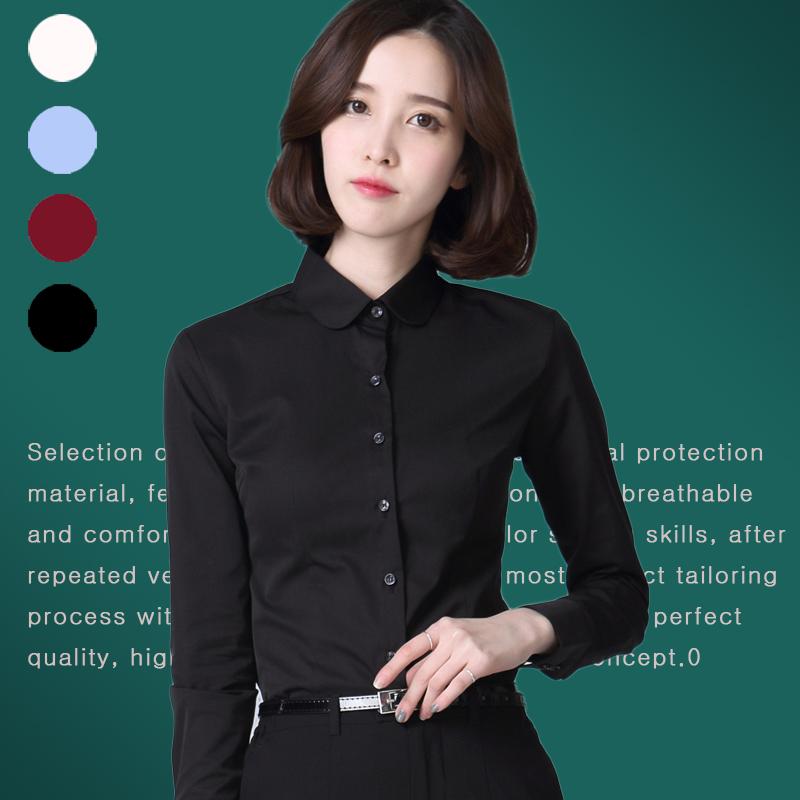 黑色衬衫女长袖大码修身娃娃领职业装工作服显瘦正装商务衬衣秋棉