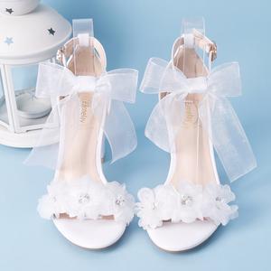 仙女一字带粗跟夏季露脚趾甜美高跟蝴蝶结花朵小清新萝莉学生凉鞋