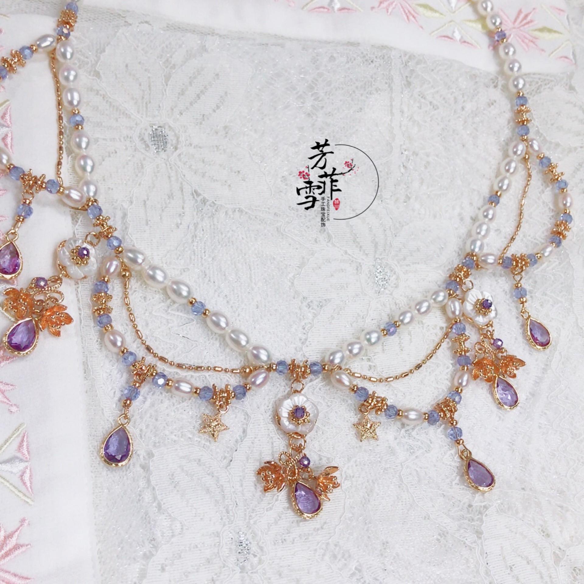 【芳菲雪】手工汉服日常婚嫁淡水珍珠软璎珞额链洛丽塔项链饰品