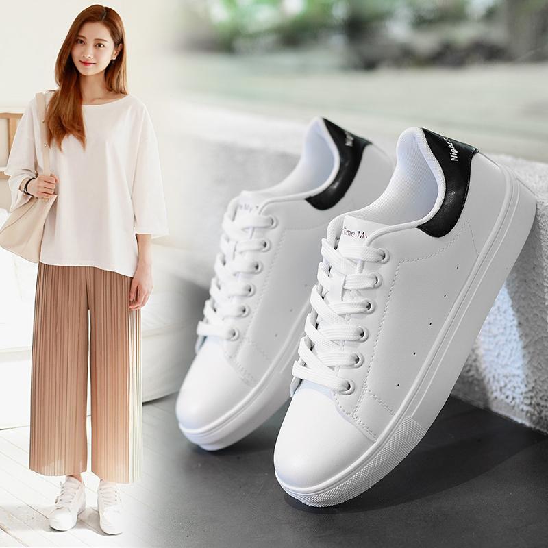 回力 板鞋女皮面小白鞋 韩版情侣休闲鞋软底透气鞋子女学生跑步鞋