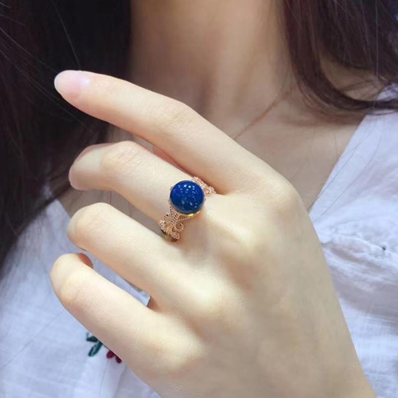多米尼加蓝珀净水无杂高蓝12mm琥珀蜜蜡活口可以调时尚蕾丝款戒指 Изображение 1