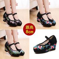 黑色高跟绣鞋女秋款老北京布鞋女民族风坡跟旗袍绣花鞋工作鞋8cm