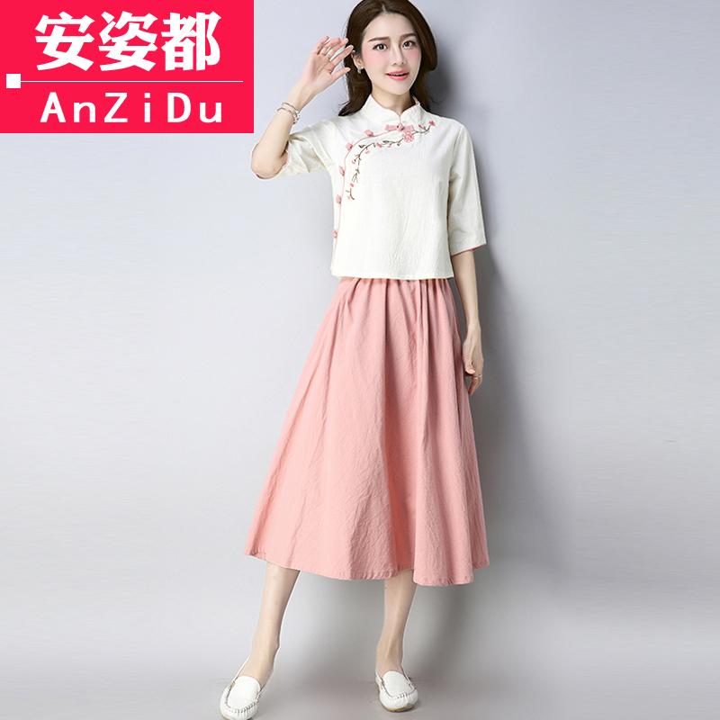 民国女装改良旗袍上衣汉服中国风中式唐装套装夏复古短袖棉麻茶服