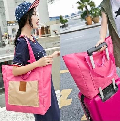 BAG canvas shopping bag student folding large handbag portable large capacity Korean simple lovely book bag