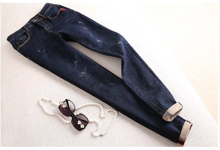 秋冬新款女 拉绒磨毛裤加厚保暖显瘦深蓝色牛仔裤铅笔裤休闲长裤