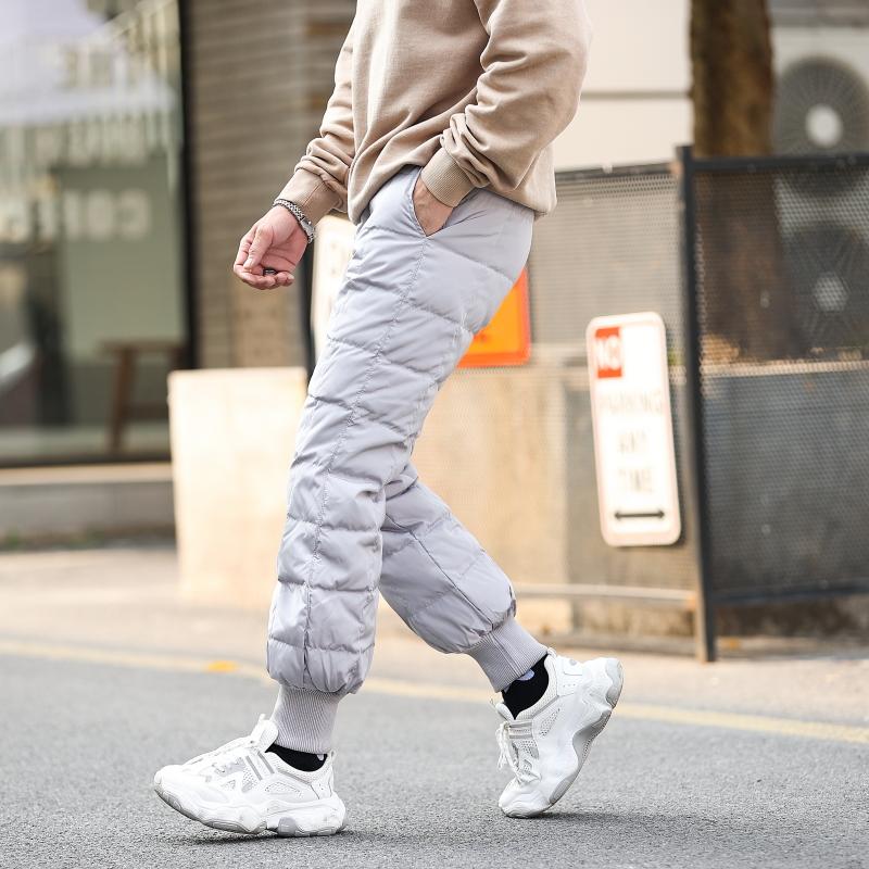 Mens winter lantern down pants wear new style high waist thickening slim slim fit British youth warm cotton pants fashion