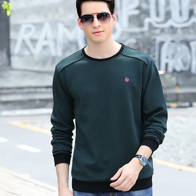 Autumn round neck long sleeve t-shirt mens color blocking sports bottoming shirt loose pure cotton fashion casual Pullover mens sweater