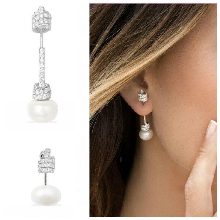欧美同款绳结耳钉大小前后挂式双面珍珠不对称耳饰女耳环个性