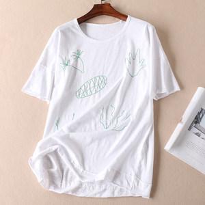 简约线条刺绣圆领短袖棉麻T恤女 夏时尚百搭半袖亚麻上衣 B730