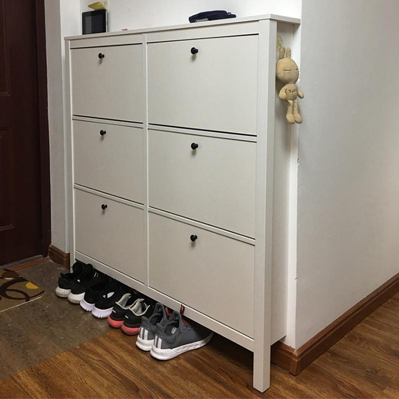 北欧简约现代17CM超薄玄关鞋柜家用门口大容量窄门厅柜翻斗鞋柜