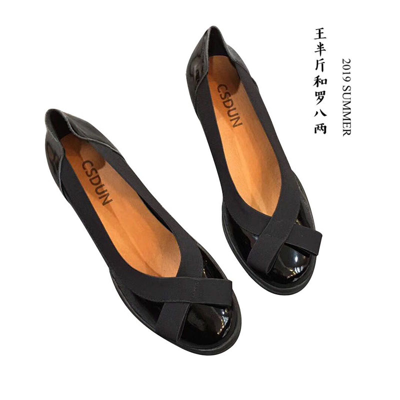 2021 spring / summer ins super hot single shoe splicing round head, comfortable and versatile, shallow mouth bow, thick heel, thin womens shoes