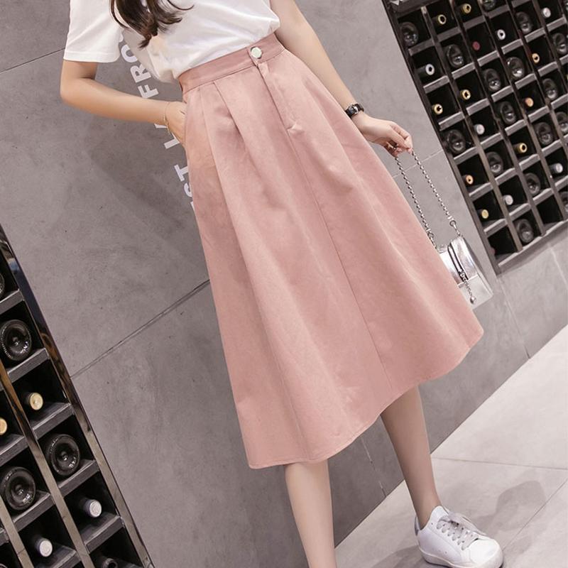 2019春夏季新款韓版學院風氣質百搭顯瘦半身裙女中長款學生棉裙子
