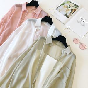防曬衣女2019夏季學生外套韓版外搭雪紡開衫薄款襯衫寬松空調衫